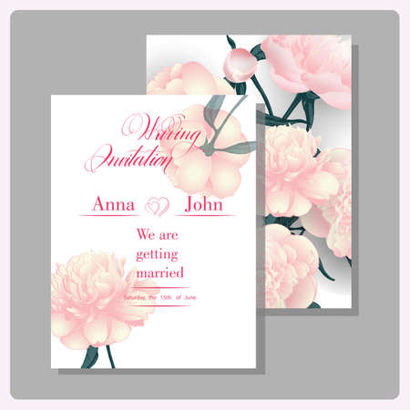 wedding reception decoration: Wedding invitation cards with blooming peonies. (Use for Boarding Pass, invitations, thank you card.) Vector illustration.