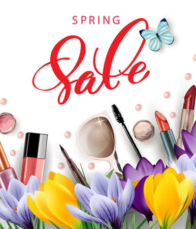 stage makeup: Spring sale concept. Cosmetics and fashion background with make up artist objects: lipstick, mascara, eyeliner, with flowering crocuses.Template vector.