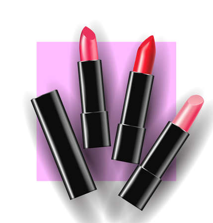 Red and pink lipstick on a pink background. Beauty and cosmetics background. Use for advertising flyer, banner, leaflet. Template Vector.