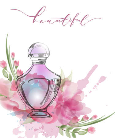 Beautiful perfume bottle with blooming beautiful pink flowers . Template Vector. Illustration