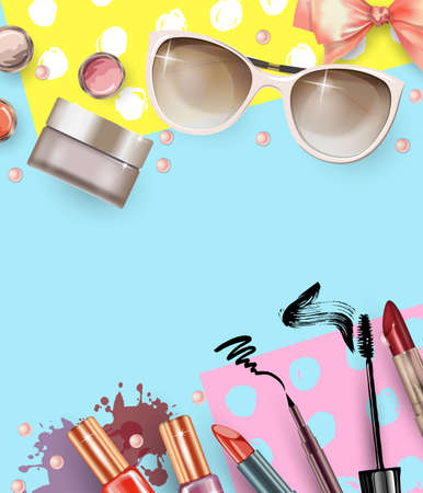 stage makeup: Cosmetics and fashion background with make up artist objects: lipstick, cream, brush. With place for your text .Template Vector. Illustration