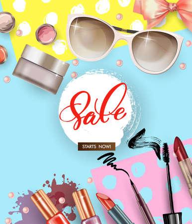 Cosmetics and fashion background with make up artist objects  nail Polish,  lipstick,sunglasses,  mascara, blush . Sale Concept.