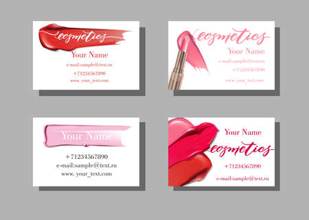 Makeup Artist Business Card Vector Template With Beautiful Perfume