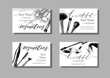 rouge: Makeup artist business card. Vector template with makeup items pattern - brush, pencil, eyeshadow, lipstick and mascara. Fashion and beauty background. Template Vector.