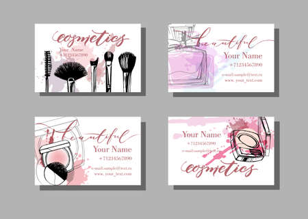Makeup artist business card. Vector template with makeup items pattern . Fashion and beauty background. Template Vector. Imagens - 70446542