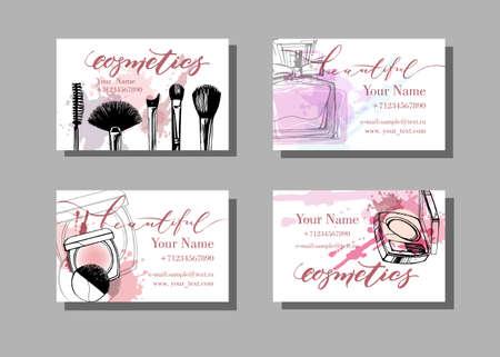 Maskenbildner-Visitenkarte. Vektor-Vorlage mit Make-up Artikel Muster. Mode und Schönheit Hintergrund. Template Vector.