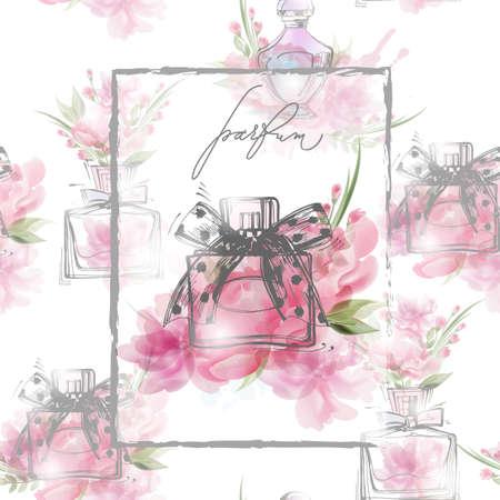 Mooie parfumfles met bloeiende mooie roze bloemen. Mooi en mode-achtergrond. Template Vector. Stock Illustratie