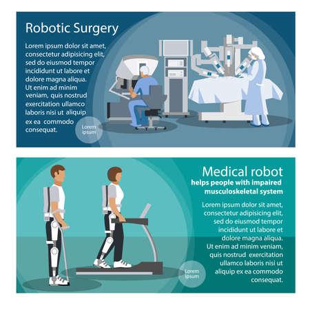 ロボット手術のためのツールのセットを水平方向のバナーとロボット筋骨格系の障害を持つ人々 に役立ちます。フラットのベクトル図