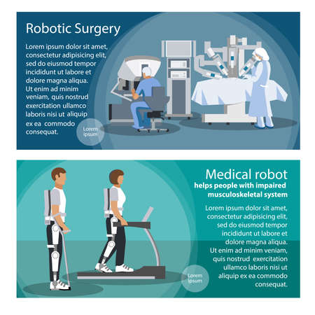 Horizontal banners set of tools for robotic surgery and the robot helps people with impaired musculoskeletal system. Flat vector illustration