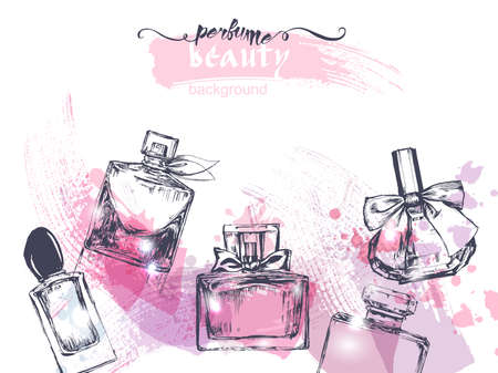 Beautiful perfume bottle, on watercolor background. Beautiful and fashion background. Vector illustration. Banco de Imagens - 71101037