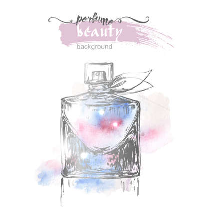 Beautiful perfume bottle, on watercolor background. Beautiful and fashion background. Vector illustration. Illustration