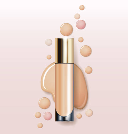 corrector: Cosmetic product, Foundation, concealer, cream. Cosmetic product, concealer, corrector, cream. Beauty and cosmetics background. Use for advertising flyer, banner, leaflet.Template Vector. Illustration