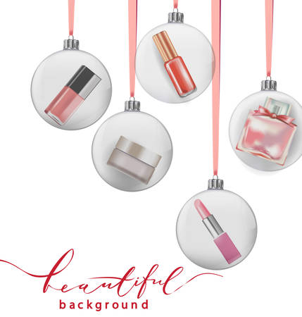 Beauty and cosmetics background with Christmas tree branches, balloons, confetti, cosmetics. Use for advertising flyer, banner, leaflet. Christmas And New Year background. Template Vector.