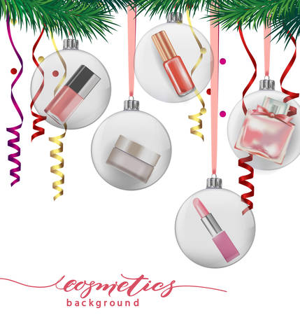 stage makeup: Beauty and cosmetics background with Christmas tree branches, balloons, confetti, cosmetics. Use for advertising flyer, banner, leaflet. Christmas And New Year background. Template Vector.