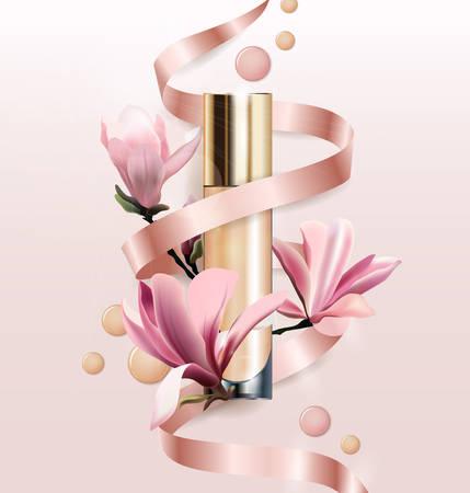 化粧品、基礎、コンシーラー、クリーム色の花を持つ。マグノリアの花の美しいボトル。美容と化粧品の背景。広告チラシ、バナー、チラシに使用