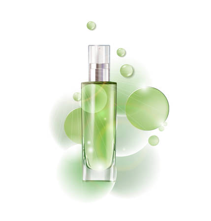 Cosmetic product, lotion, vegetable oil, natural cosmetics. Beautiful bottle with with drops .Beauty and cosmetics background. Use for advertising flyer, banner, leaflet.Template Vector. 向量圖像