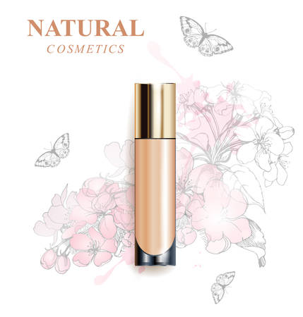Beige realistic tube mock-up for cream dispenser, lotion, gel, medicine cream, tone cream, ointment, concealer, salve. Cosmetic vial. A wreath of painted herbs and flowers background.Template Vector.  イラスト・ベクター素材
