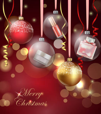 stage makeup: Beauty and cosmetics background with Christmas tree branches, balloons, confetti, cosmetics. Use for advertising flyer, banner, leaflet. Christmas And New Year background. Template Vector. Beauty and cosmetics background with Christmas tree branches, ball Illustration
