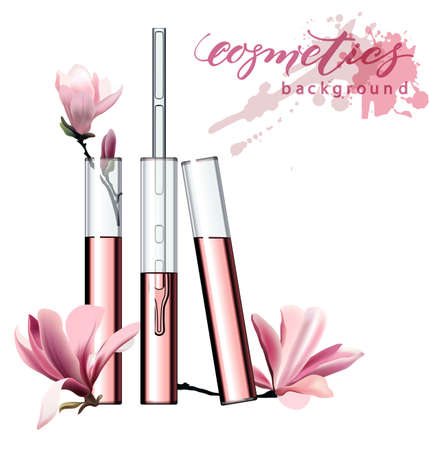 Natural cosmetics. Perfume. Flower extract in vitro.Cosmetic ads template, glass droplet bottle with essence oil .3D illustration. Q10 and other ingredients on poster.