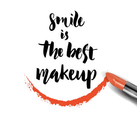 Smile is the best make up. Inspirational quote handwritten with black ink and brush, custom lettering for posters, t-shirts and cards, fashion design. Vector calligraphy isolated on white background. Illustration