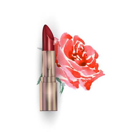 赤い口紅と赤いバラ。美容と化粧品の背景。広告チラシ、バナー、チラシに使用します。テンプレート ベクトル。  イラスト・ベクター素材
