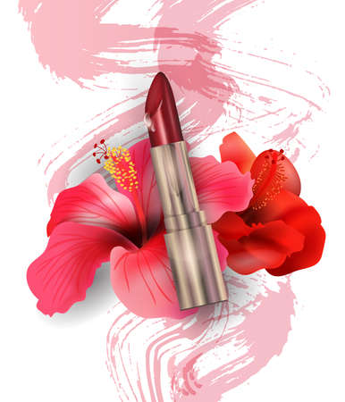 Red lipstick and Red tropical flowers Hibiscus. Beauty and cosmetics background. Use for advertising flyer, banner, leaflet. Template Vector.