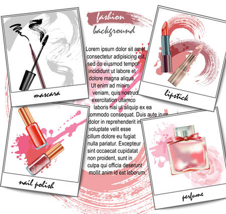 Cosmetics and fashion background with make up artist objects: lipstick, cream, brush. With place for your text .Template Vector. Çizim