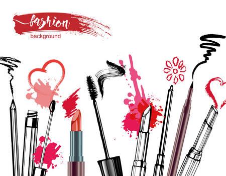 化粧品やファッションの背景にはメイクアップ アーティスト オブジェクト: 口紅、クリーム、ブラシ。テキストの場所。テンプレート ベクトル。