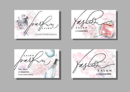 Makeup artist business card. Vector template with Beautiful perfume bottle. Fashion and beauty background. Template Vector.