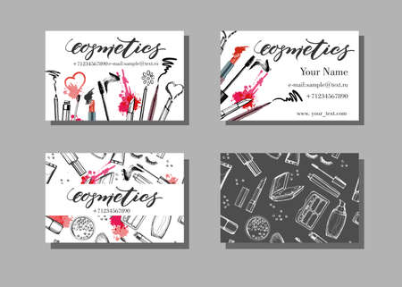 Makeup artist business card. Vector template with makeup items pattern - brush, pencil, eyeshadow, lipstick and mascara. Fashion and beauty background. Template Vector.
