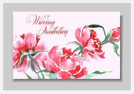 Bruiloft Uitnodiging Met Een Waterverf Peonies. Kaart Gebruik voor Boarding Pass, uitnodigingen, dank u kaart. Sjabloon Vector. Stock Illustratie