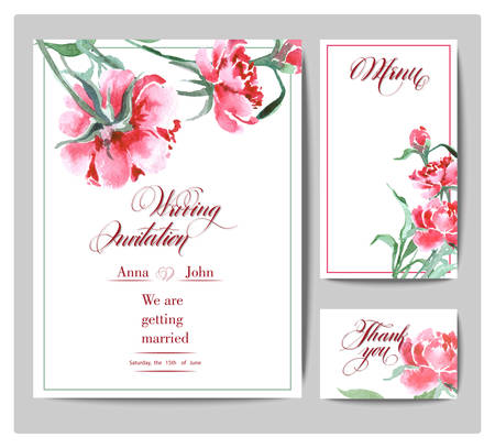 Wedding Invitation with a watercolor peonies. Card Use for Boarding Pass, invitations, thank you card. Template Vector. Stok Fotoğraf - 71350877