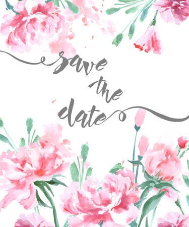 Bewaar de datum met aquarel pioenrozen. Bruiloft uitnodigingskaart Gebruik voor instapkaart, uitnodigingen, Bedankkaart. Sjabloon Vector. Stock Illustratie