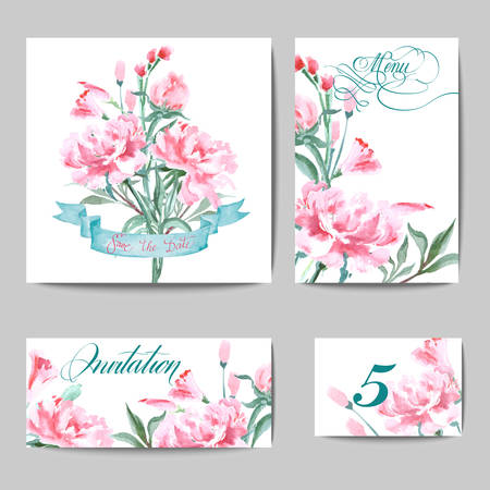 Wedding Invitation with a watercolor peonies. Card Use for Boarding Pass, invitations, thank you card. Template Vector.