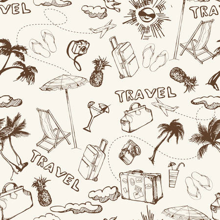 Travel seamless background. Hand drawn summer holidays pattern. Vector illustration Illustration