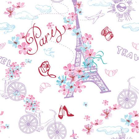 Paris symbols seamless pattern. Romantic travel in Paris. Vector illustration