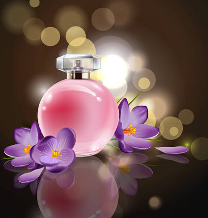 Pink bottle womens perfume with spring flowers crocuses on blurred background. Vector template Illustration