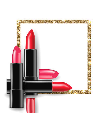 glamour makeup: Red and pink lipstick on the background of Golden shiny frame. Beauty and cosmetics background. Use for advertising flyer, banner, leaflet. Template Vector.