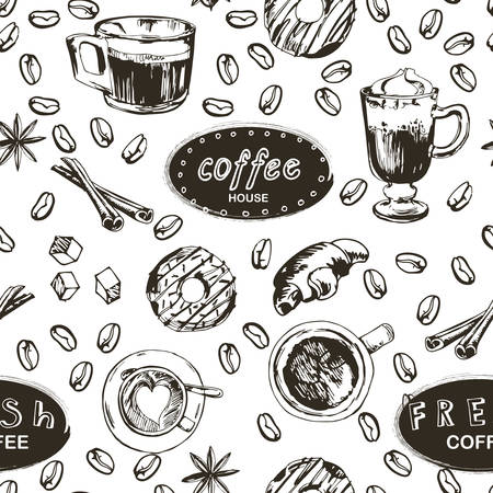 Seamless doodle coffee pattern, hand drawn. Vector illustration EPS