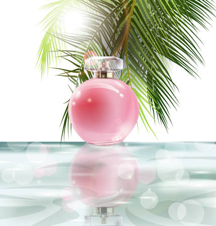Beautiful pink perfume bottle on a background of water and the leaves of palm trees. Summer background.Vector illustration