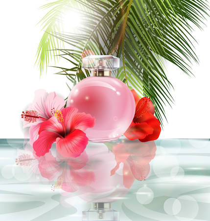 Beautiful pink perfume bottle on a background of water, hibiscus flowers and palm leafs. Summer background.Vector illustration Illustration