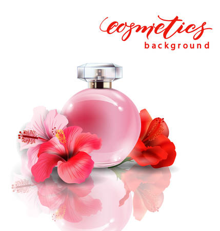 Pink bottle womens perfume with spring flowers crocuses vector pink bottle womens perfume with spring flowers crocuses vector template stock vector 72404017 mightylinksfo