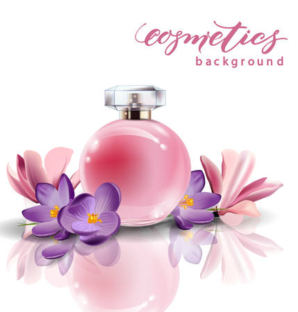 Pink bottle womens perfume with spring flowers crocuses. Vector template Illustration