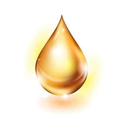 golden oil droplet isolated on white background.Vector illustration