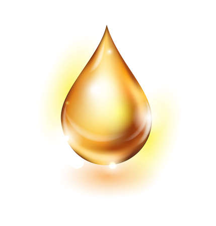 golden oil droplet isolated on white background.Vector illustration