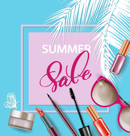Beauty and cosmetics background. Summer sale Concept. Use for advertising flyer, banner, leaflet. Template Vector.