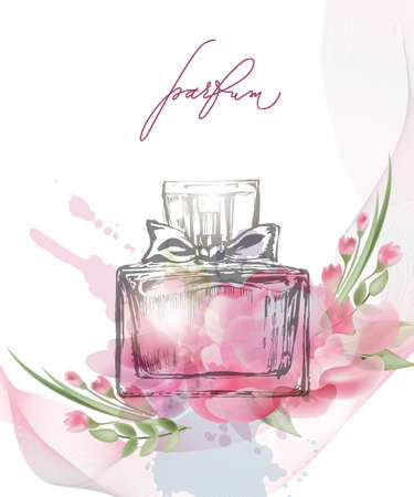 咲く美しいピンクの花を持つ美しい香水瓶。美とファッションの背景。テンプレート ベクトル。