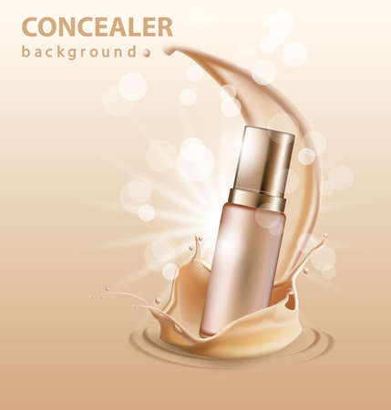 Concealer stick ads, 3d illustration foundation product with liquid foundation texture splashes in the air. Vector illustration