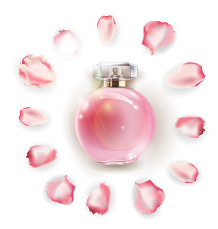 Parfumflesjes en bloemroos, bloemblaadjes en parels. 3D illustratie. Vector sjabloon Stock Illustratie
