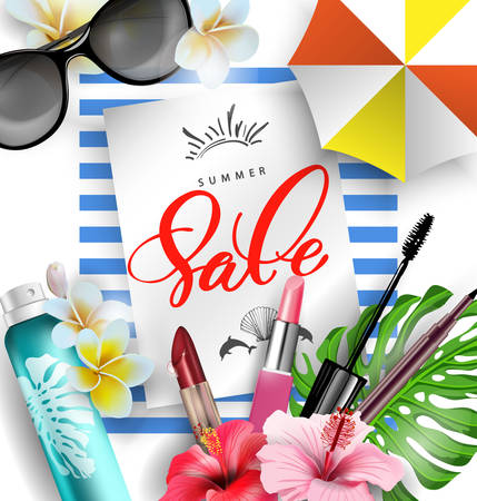 Cosmetics sunscreen products with tropical flowers. Summer sale concept. Skin care cosmetic products that contain protection from the sun.Vector template
